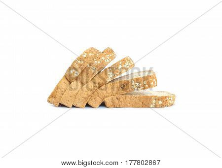 Closeup pile of wheat bread for breakfast with shadow isolated on white background
