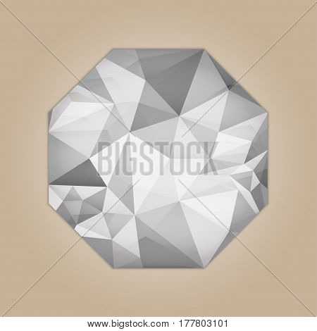 Diamond octagon shape grayscale color abstract polygonal vector illustration isolated on beige background