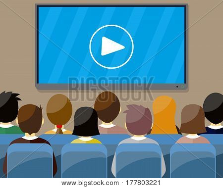 projector screen with financial report. Training staff meeting report business school. vector illustration in flat style. Marketing mix