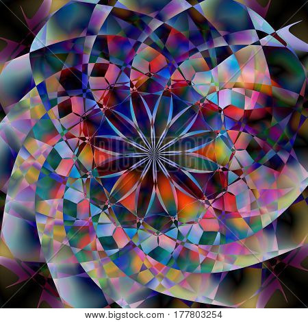 Abstract background in the form of mosaic and floral pattern. Colorful vector illustration. Inspiration, fantasy spirituality concept. Image for your design needs