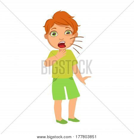 Boy Coughing, Sick Kid Feeling Unwell Because Of The Sickness, Part Of Children And Health Problems Series Of Illustrations. Young Teenager Ill Cute Cartoon Character With Illness Symptoms.