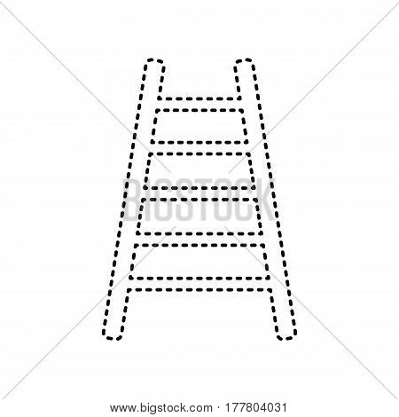 Ladder sign illustration. Vector. Black dashed icon on white background. Isolated.
