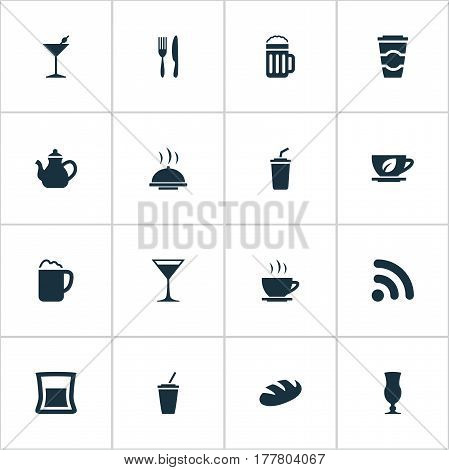 Vector Illustration Set Of Simple Food Icons. Elements Beer, Bread, Tea And Other Synonyms Espresso, Bread And Wireless.