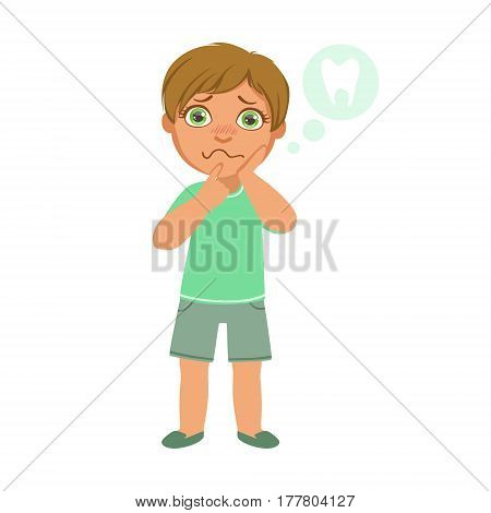 Boy And Tooth Pain, Sick Kid Feeling Unwell Because Of The Sickness, Part Of Children And Health Problems Series Of Illustrations. Young Teenager Ill Cute Cartoon Character With Illness Symptoms.