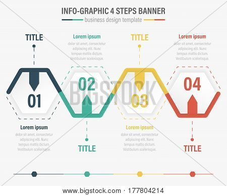 Info-graphic Four Steps Vector Banner.
