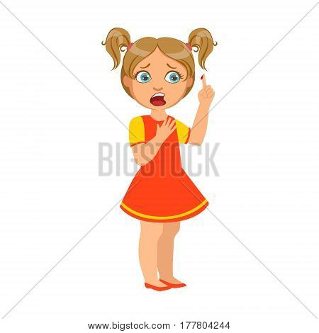 Girl With Finger Cut, Sick Kid Feeling Unwell Because Of The Sickness, Part Of Children And Health Problems Series Of Illustrations. Young Teenager Ill Cute Cartoon Character With Illness Symptoms.