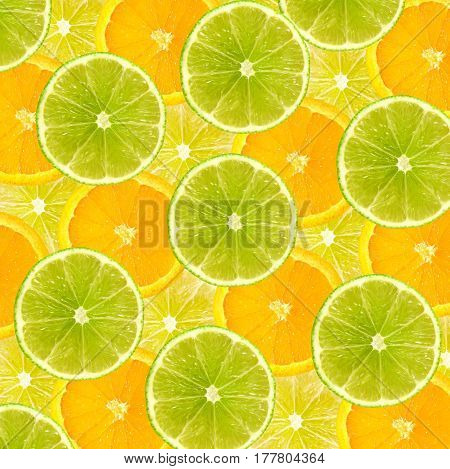 Vibrant Background Of Juicy Citrus Fruits, Lime, Lemon, And Orange Slices