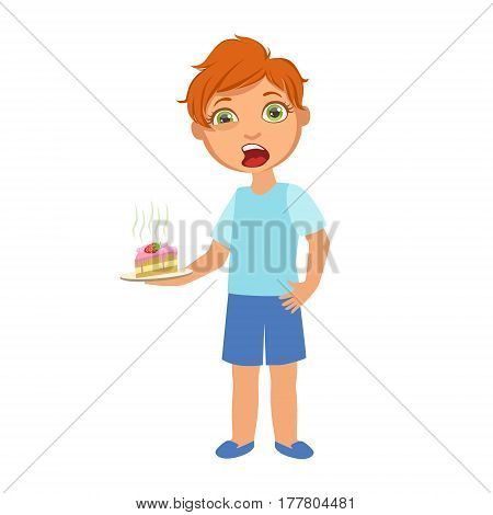 Boy With Cake Nauseous, Sick Kid Feeling Unwell Because Of The Sickness, Part Of Children And Health Problems Series Of Illustrations. Young Teenager Ill Cute Cartoon Character With Illness Symptoms.