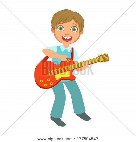 Boy Playing Electric Guitar, Kid Performing On Stage, School Showcase Participant With Musical Artistic Talent . Part Of Talented Children And Music Series Of Vector Cartoon Illustrations.