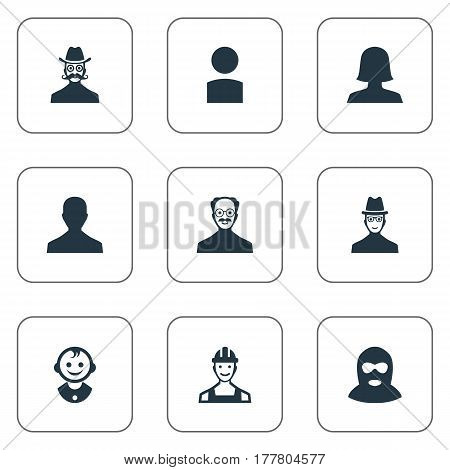 Vector Illustration Set Of Simple Member Icons. Elements Male User, Spy, Young Shaver And Other Synonyms Boy, Worker And Felon.