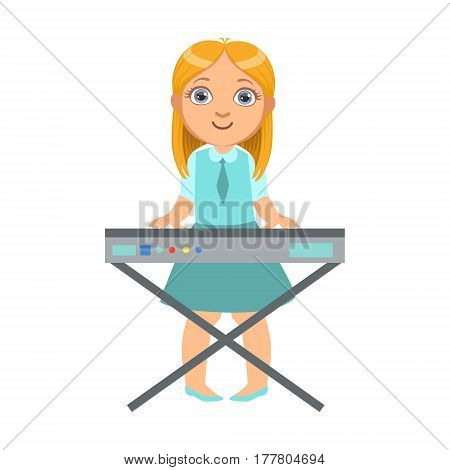 Girl Playing On Keyboard, Kid Performing On Stage, School Showcase Participant With Musical Artistic Talent . Part Of Talented Children And Music Series Of Vector Cartoon Illustrations.