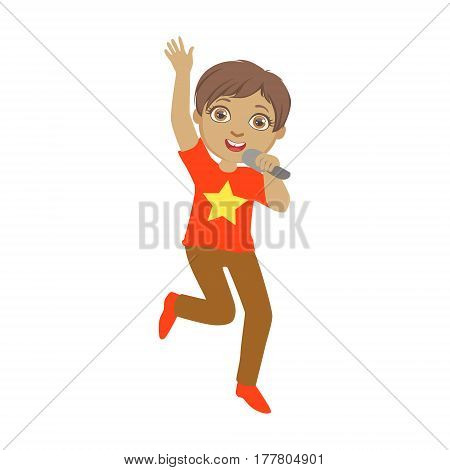 Boy Singing, Kid Performing On Stage, School Showcase Participant With Musical Artistic Talent . Part Of Talented Children And Music Series Of Vector Cartoon Illustrations.