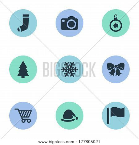 Vector Illustration Set Of Simple New Year Icons. Elements Photography, Christmas Decoration, Basket And Other Synonyms Basket, Equipment And Snowy.