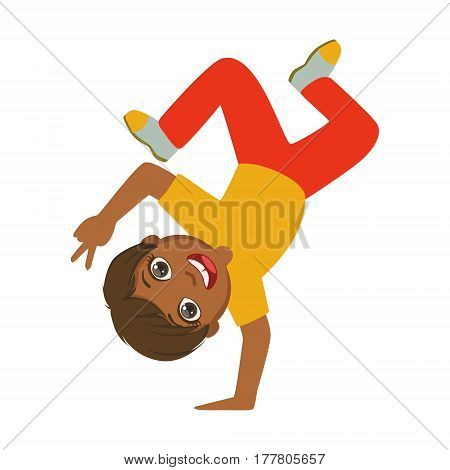 Boy Standing Upside Down On One Hand Dancing Breakdance Performing On Stage, School Showcase Participant With Musical Artistic Talent. Part Of Talented Children Dancers And Music Series Of Vector Cartoon Illustrations.