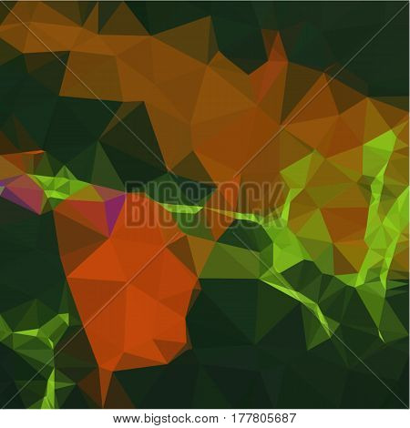 Abstract background of small triangles polygon orange and green fragments light and dark sharp throughout the drawing