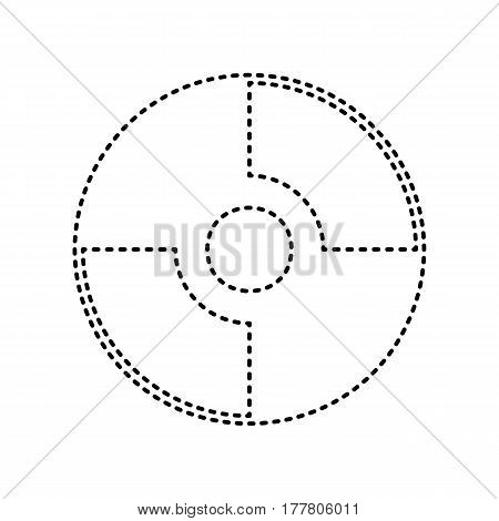 Vector CD or DVD sign. Vector. Black dashed icon on white background. Isolated.