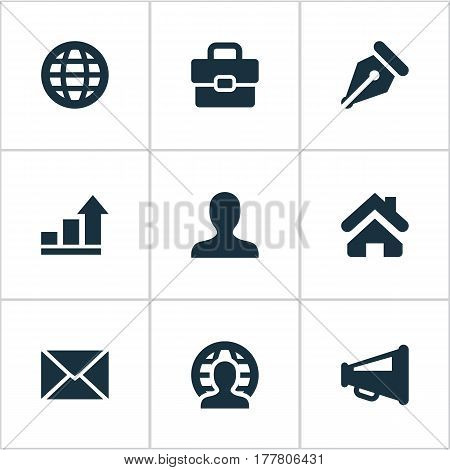 Vector Illustration Set Of Simple Business Icons. Elements Human, Home, Suitcase And Other Synonyms Home, World And Progress.