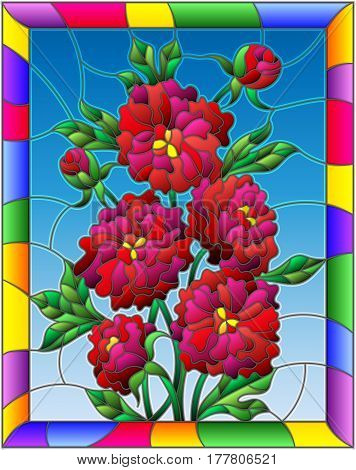 Illustration in stained glass style with flowers buds and leaves of red peonies on a blue background in a bright frame