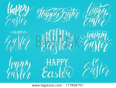 Happy Easter handwritten lettering set. Religious calligraphy collection on blue background for greeting or invitation cards, festive tags, posters etc.