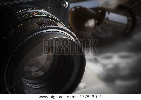 Old analog camera photographed with one light
