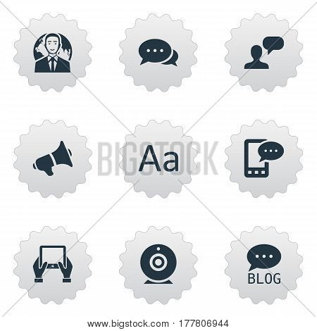 Vector Illustration Set Of Simple Blogging Icons. Elements Loudspeaker, Cedilla, Man Considering And Other Synonyms Considering, Tablet And Discussion.