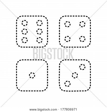 Devils bones, Ivories sign. Vector. Black dashed icon on white background. Isolated.