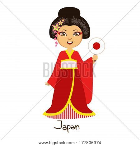 Girl In Japan Country National Clothes, Wearing Kimono Traditional For The Nation. Kid In Japanese Costume Representing Nationality Cute Vector Illustration.