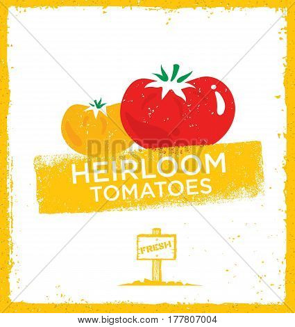 Fresh Home Grown Heirloom Tomatoes. Creative Vector Eco Green Design Element. Organic Bio Concept On Natural Rough Background