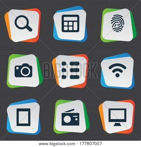 Vector Illustration Set Of Simple Hardware Icons. Elements Fingerprint, Tuner, Touch Computer And Other Synonyms Fingerprint, Radio And Connection.