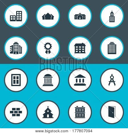 Vector Illustration Set Of Simple Structure Icons. Elements Flat, Offices, Shelter And Other Synonyms Architecture, Block And Rooms.