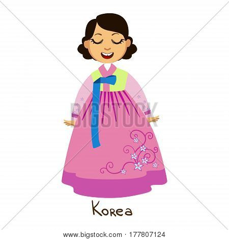 Girl In Korea Country National Clothes, Wearing Pink Dress With Floral Pattern Traditional For The Nation. Kid In Korean Costume Representing Nationality Cute Vector Illustration.