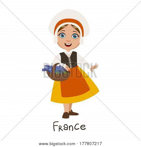 Girl In France Country National Clothes, Wearing Bonnet And Apron Traditional For The Nation. Kid In French Costume Representing Nationality Cute Vector Illustration.