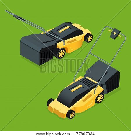 Electric yellow lawn mower in summertime. Lawn grass service concept. Isometric flat vector illustration. Garden equipment