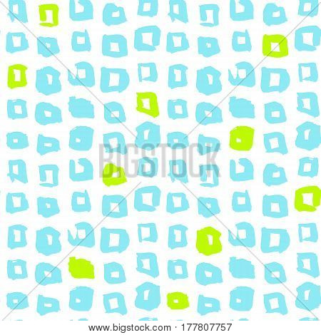 Square Funky Seamless Pattern. Vector Illustration of 80s Style Tile Hipster Background.