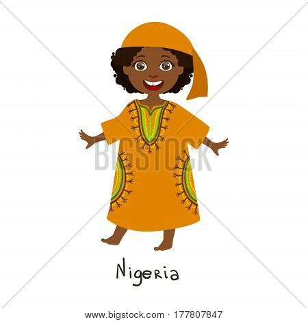 Girl In Nigeria Country National Clothes, Wearing Orange Dress nd Bandana Traditional For The Nation. Kid In Nigerian Costume Representing Nationality Cute Vector Illustration.