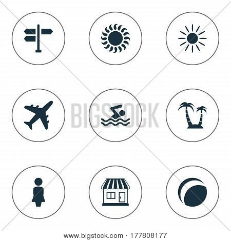Vector Illustration Set Of Simple Seaside Icons. Elements Woman, Crossroad, Store And Other Synonyms Sunlight, Beach And Crossroad.