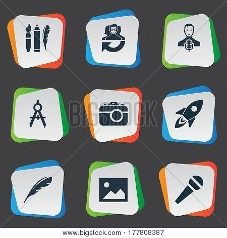 Vector Illustration Set Of Simple Creative Thinking Icons. Elements Dividers, Leadership, Rocket And Other Synonyms Photo, Dividers And Space.