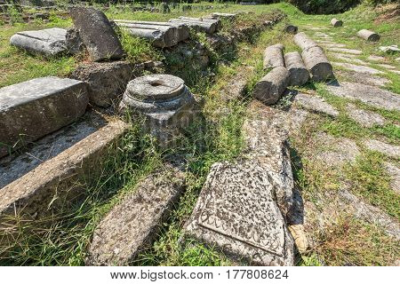 Ruins and old way at the Archaeological Park of Dion. Pieria Macedonia Greece