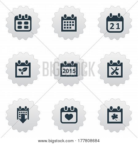 Vector Illustration Set Of Simple Plan Icons. Elements Plant, Heart, Agenda And Other Synonyms Plant, Block And Autumn.