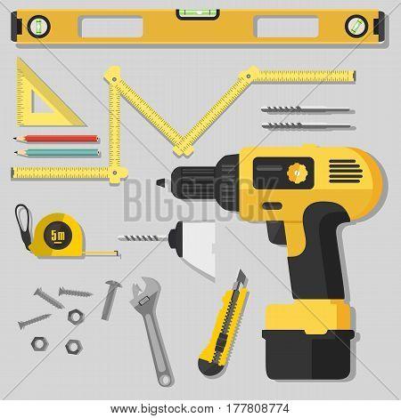 Illustration Construction Tools Diy, Flat Design