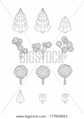 Isometric vector tree set. Landscape constructor kit. Different trees for make design. Low poly spruce, apple, decorative shrub, linden, maple, pine and firtree. Black and white wireframe style.