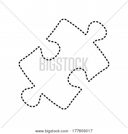 Puzzle piece sign. Vector. Black dashed icon on white background. Isolated.