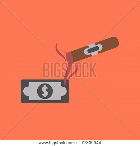 flat icon on stylish background poker cigar dollar