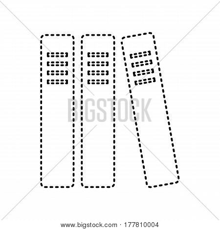 Row of binders, office folders icon. Vector. Black dashed icon on white background. Isolated.