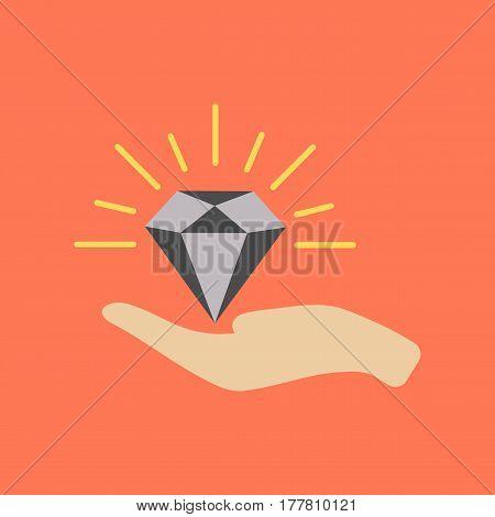 flat icon on stylish background poker Diamond in hand