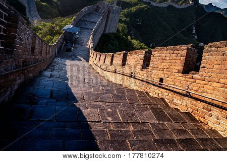 the Great Wall is generally built along an east-to-west line across the historical northern borders of China.