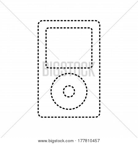 Portable music device. Vector. Black dashed icon on white background. Isolated.