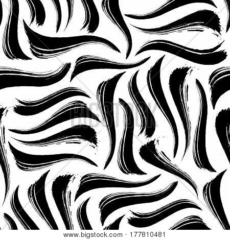 Creative monochrome striped background. Seamless pattern with hand drawn black and white stripes. Abstract design concept can be printed on textile, wrapping paper, greeting card, etc. EPS10
