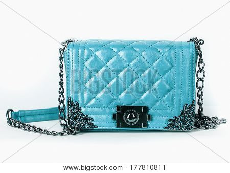 Quilted Leather Bag, On A White