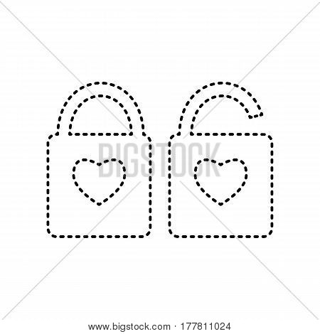 lock sign with heart shape. A simple silhouette of the lock. Shape of a heart. Vector. Black dashed icon on white background. Isolated.